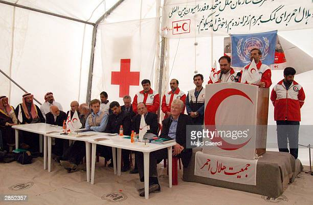 Representatives from the Red Cross and United Nations meet with Iranian Red Crescent officials January 8 2004 in Bam Iran The International...