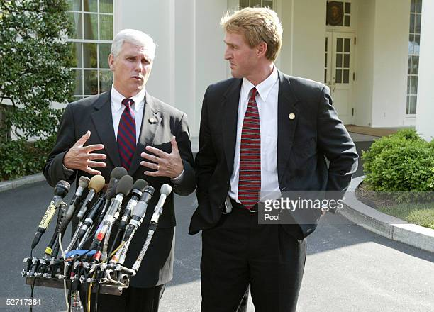 US Representatives Mike Pence and Jeff Flake speak to reporters outside the White House after meeting with US President George W Bush April 27 2005...
