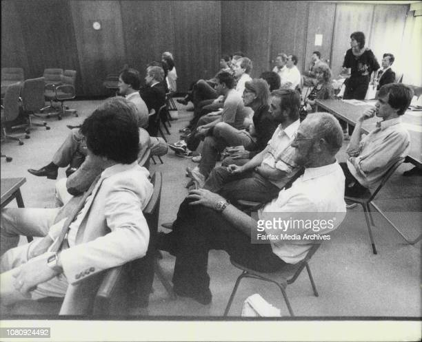 Representatives of 2GB seated in the front row behind are Members and supporters of the Gay Solidarity Group and other hoping to appear before the...