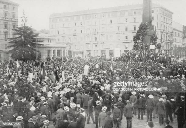 Representatives of all political parties haranguing the people in favour of Italy's war entry in front of the 5days monument of Milan Italy World War...