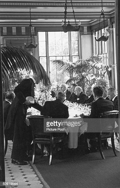 Representatives of all the Allied governments attend a lunch party at the Soviet Embassy in London given by Soviet Ambassador Ivan Maisky 29th August...