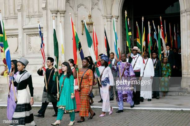 Representatives of Commonwealth countries attending the Commonwealth Day service at Westminster Abbey on March 12 2007 in London England