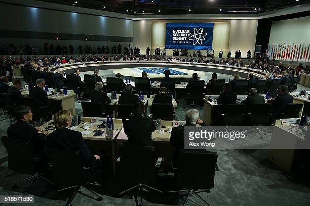 Representatives of delegation listen during a plenary session of the 2016 Nuclear Security Summit April 1, 2016 in Washington, DC. U.S. President...