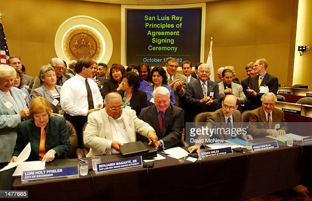 Representatives of five tribes in northern San Diego County the US Department of the Interior and the Metropolitan Water District sign an historic...