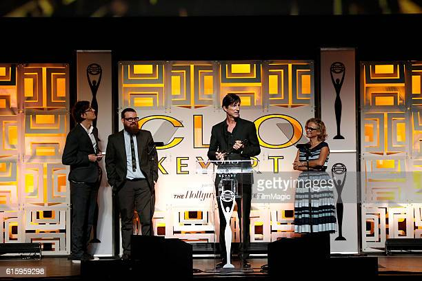 Representatives of Mob Scene agency accept the Grand in Theatrical Teaser award for 'The Accountant' onstage during the CLIO Key Art Awards 2016 at...