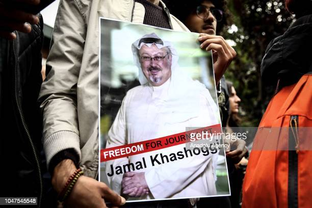 Representatives of NGOs stage a demonstration on the disappearance of Prominent Saudi journalist Jamal Khashoggi in front of the Consulate General of...