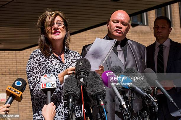 Representatives of one of the victims of sexual abuse by Rolf Harris issue a statement to the press at Southwark Crown Court after he was sentenced...