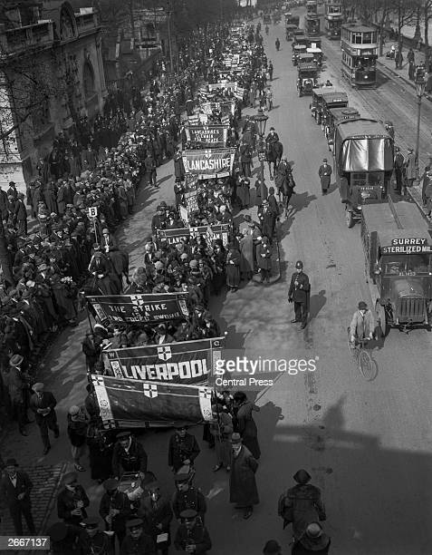 Representatives of regional groups from the Women's Guild of Empire marching along Victoria Embankment London to demonstrate against the imminent...