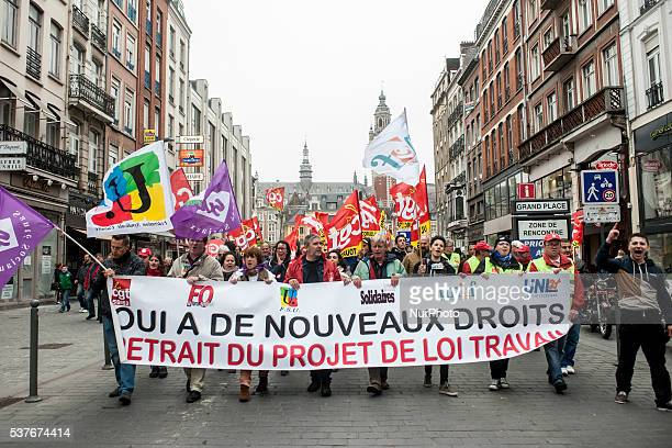 Representatives of student and labor unions occupy the head of the event in Lille on June 2 2016 Ninth demonstration in the streets of Lille against...
