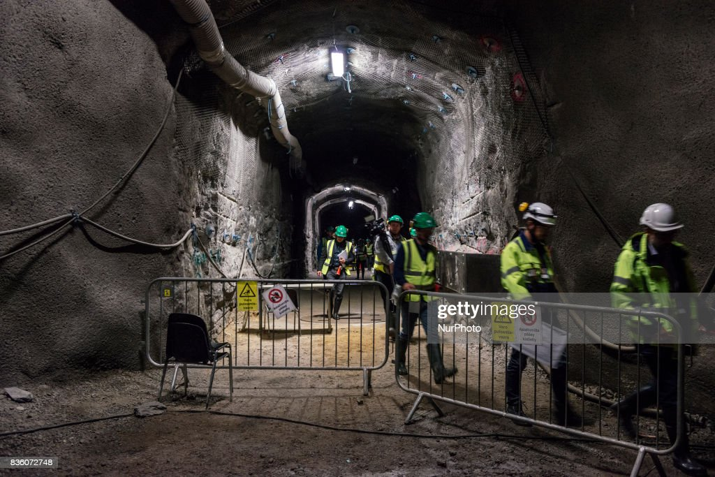 Representatives of Teollisuuden Voima (TVO), Posiva and media in a demonstration tunnel approximately 420 meters underground at Posiva's spent nuclear fuel repository ONKALO in Olkiluoto, Eurajoki, Finland on 17 August 2017.