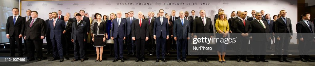 Family Photo At Peace And Security In The Middle East Summit In Warsaw : News Photo