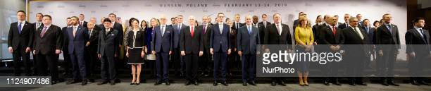 Representatives of th countries participating in the Middle East summit are seen gathered for the family photo in Warsaw Poland on February 14 2019