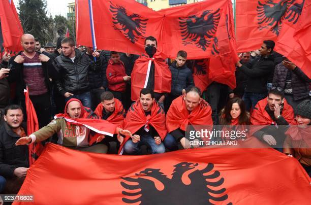 Representatives of the Albanian Cham community protest in front of the Greek Embassy to demand recognition of their property claims in Greece, on...