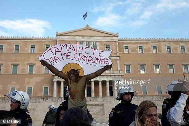 Representatives of the church and members of Christian organizations demonstrating against the new citizen 's card on Syntagma square, Athens,...