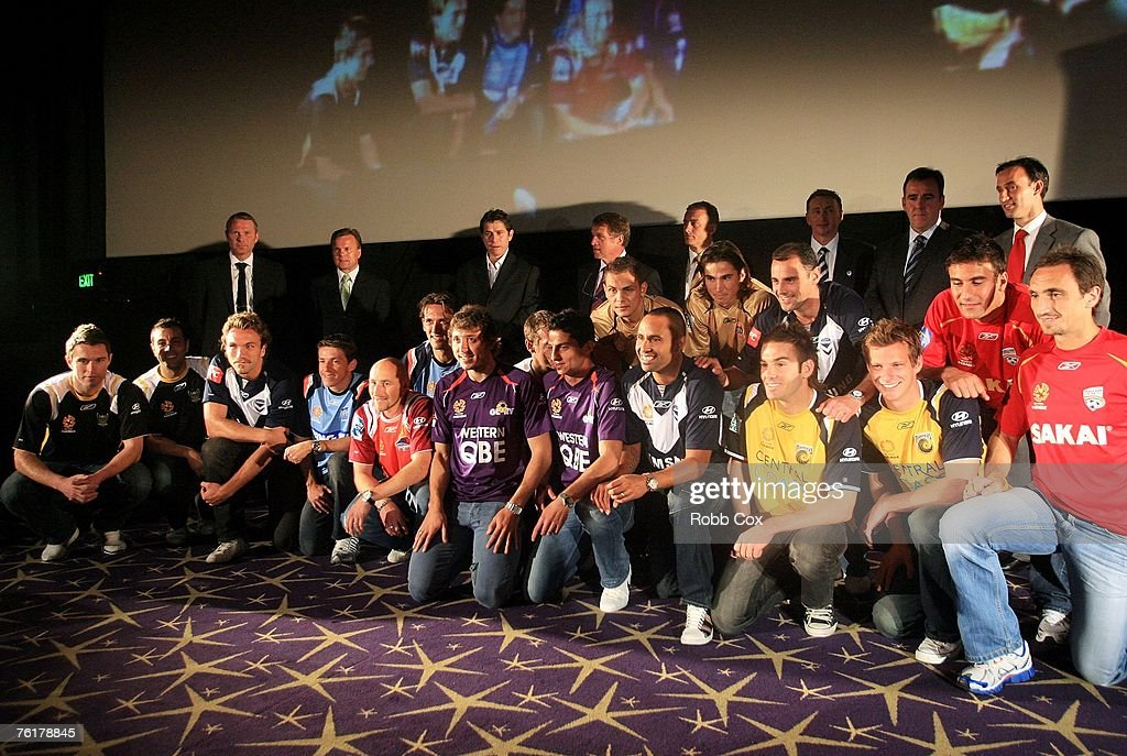 Representatives of the eight A-League teams pose during the 2007/2008 A-League Season Launch at The Entertainment Quarter on August 20, 2007 in Sydney, Australia.