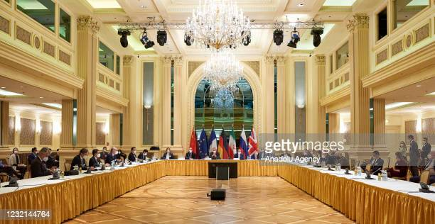 Representatives of the European Union, Iran and others attend the Iran nuclear resume talks at the Grand Hotel in Vienna, Austria on April 06, 2021.