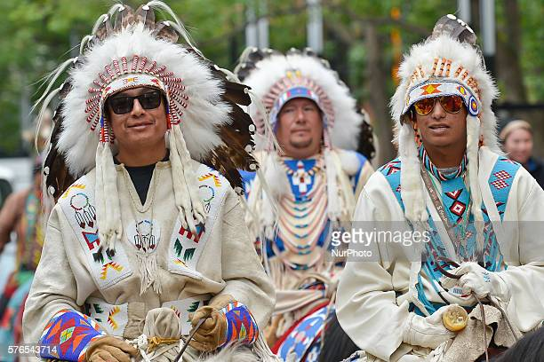 Representatives of The First Nations during the parade trough Calgary's downtown an event related to the Calgary Stampede 2016 On Thursday 14 July...