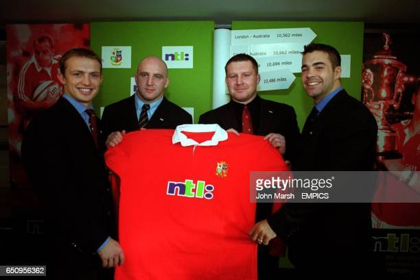 Representatives of the four home nations with a replica of the shirts they will be wearing on the British Lions 2001 tour of Australia England's Matt...