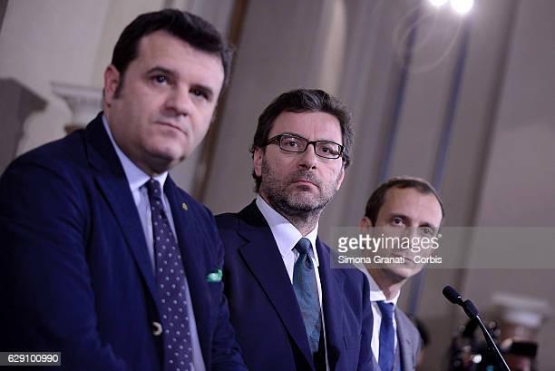 Representatives of the Northern League Gian Marco Centinaio Giancarlo Giorgetti and Massimiliano Fedriga speak to media leave the President Sergio...