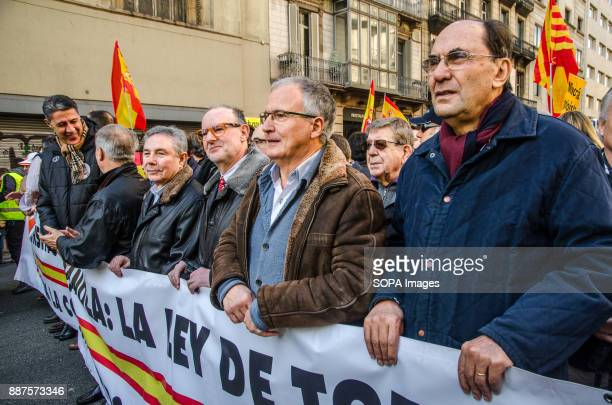 Representatives of the Spanish unionism in the head of the demonstration as it passes through Via Laietana of BarcelonaSpain celebrates today the 39...