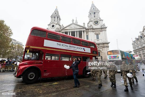 Representatives of the The British Legion walk past St Paul's Cathedral take part in the Lord Mayor's Show in London United Kingdom on November 11...