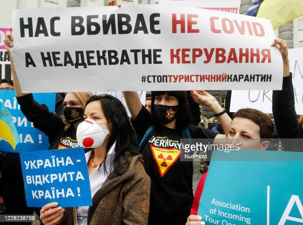 Representatives of the tourism industry, restaurants, nightclubs, and concert venues attend their protest against government restrictions during the...
