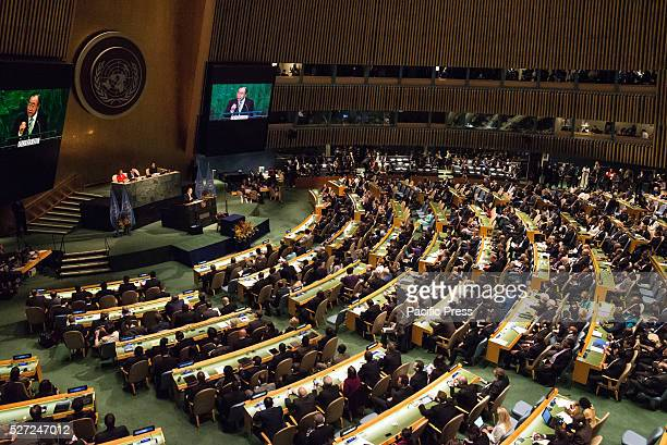 Representatives of the UN Member States sit in attendance in General Assembly Hall for the climate agreement opening ceremony Leaders from around the...