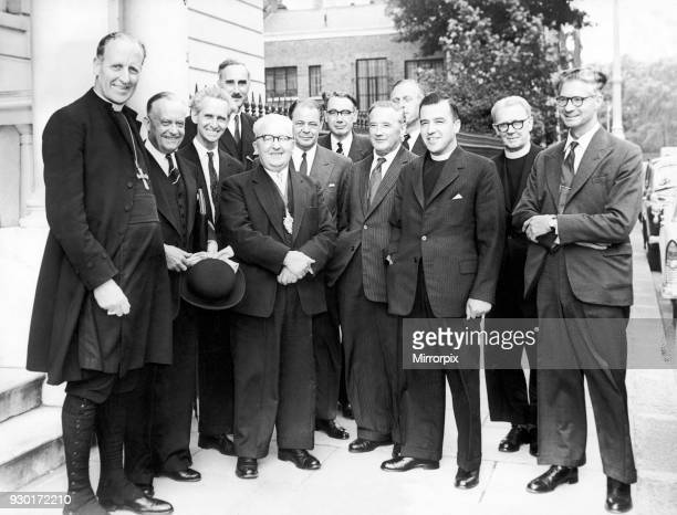 Representatives of the University of Warwick Promotion Committee outside 38 Belgrave Square London 16th June 1960 Left to Right The Bishop of...