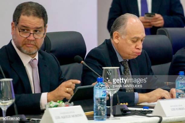 Representatives of the Venezuelan opposition Luis Florido and Gustavo Velasquez take part in a meeting with the Venezuelan government representatives...