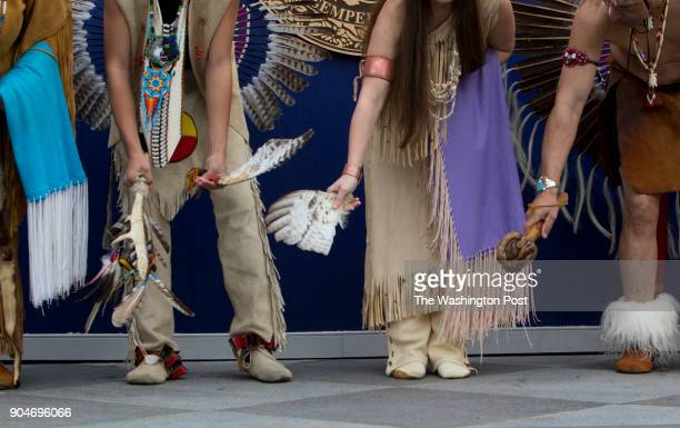 Representatives of Virginia's Indian Tribes bless the ground of the Virginia State Capitol during the inaugural ceremony Saturday January 13 2018 in...