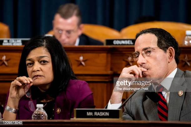 Representatives Pramila Jayapal and Jamie Raskin listen to the reading of the articles of impeachment during the House Judiciary Committee markup of...