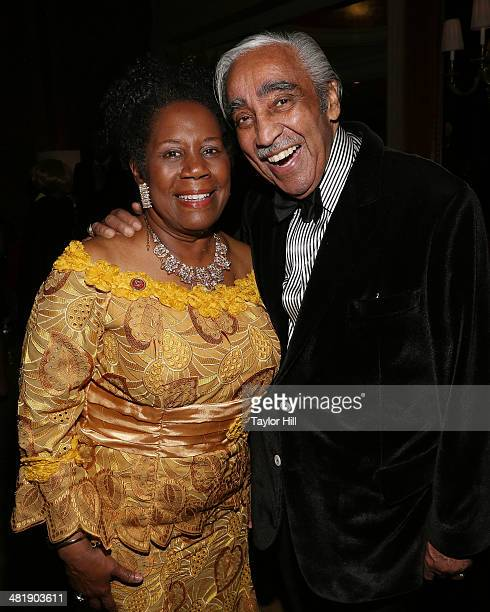 Representatives Sheila Jackson Lee and Charles Rangel attend Aretha Franklin's 72nd Birthday Celebration on March 22 2014 in New York City