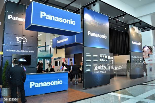 Representatives stand in front of the booth of Panasonic Corporation on the opening day of the Second Smart Building Technologies Fair in Ankara...