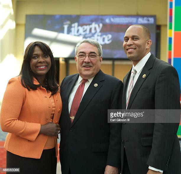 Representatives Terri Sewell, G.K. Butterfield and Hakeem Jeffries pose for a photo at the 45th Annual Legislative Conference Press Conference at...