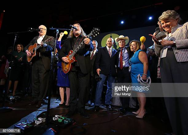 Representiave Joe Crowley and Warren Haynes perform with members of Congress at the GRAMMYs on The Hill Dinner at The Hamilton on April 13 2016 in...