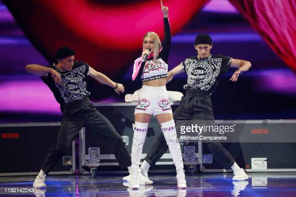 ZENA representing Belarus performs live on stage during the 64th annual Eurovision Song Contest held at Tel Aviv Fairgrounds on May 18 2019 in Tel...