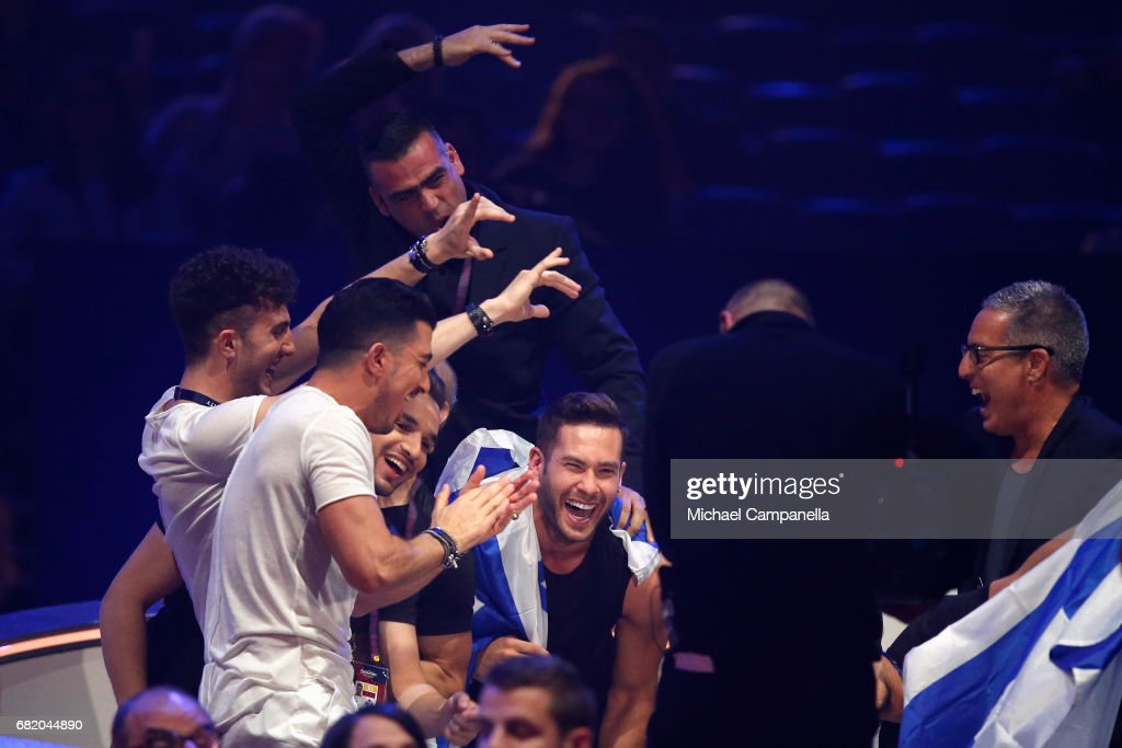 IMRI, representing Israel, react to making it to the Grand Final during the second semi final of the 62nd Eurovision Song Contest at International Exhibition Centre (IEC) on May 11, 2017 in Kiev, Ukraine. The final of this years Eurovision Song Contest will be aired on May 13, 2017.