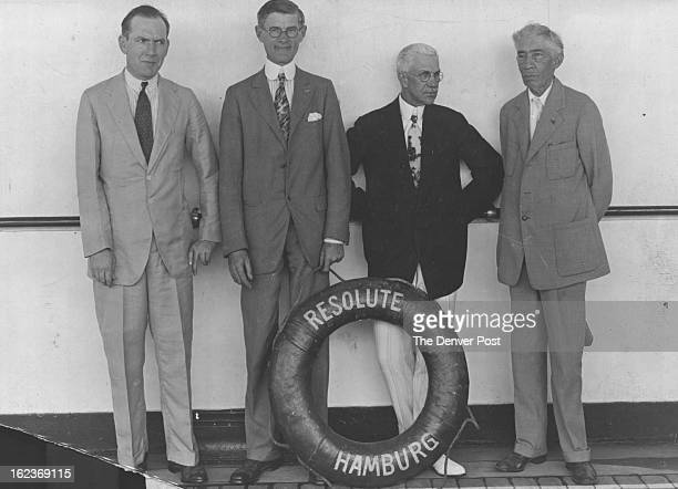 1929 NOV 22 1930 Representing the Press aboard the 'Resolute' Robert Mountsier of the 'New York Sun' Joseph Langer of the 'Denver Post' Orah...