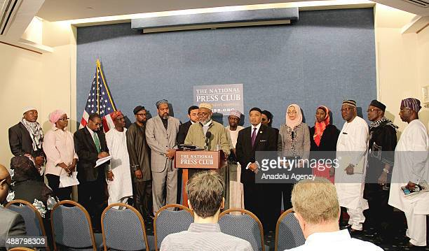 Represetatives of the Council of Muslim Organizations hold news conference at the National Press Club in Washington DC on May 08 2014 to call for the...
