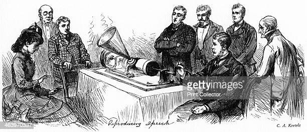 'Reproducing Speech' 1878 Demonstration of the Edison phonograph in New York Illustration from Adventures of America 18571900 by John A Kouwenhoven...