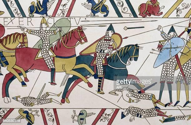 Reproduction de la Tapisserie de Bayeux représentant la bataille d'Hastings en 1066 réalisée en 1821