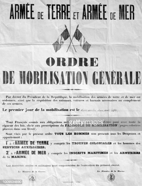 Reproduction de l'ordre de mobilisation générale placardée le 2 août 1914 sur les murs de France avant le début de la première guerre mondiale
