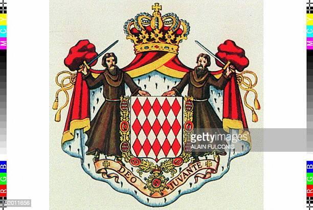 """Reproduction des armoiries de Monaco o? on peut lire la devise monTgasque Deo Juvante ."""""""