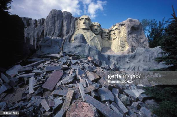 Reproduction des présidents américains sculptés du Mont Rushmore au Parc Legoland à Billund en août 1991 au Danemark