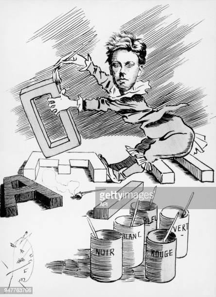Reproduction d'une caricature d'Arthur Rimbaud par Luque 'Sonnet des voyelles' Rimbaud a cherché entre les sons les couleurs etc de nouvelles...