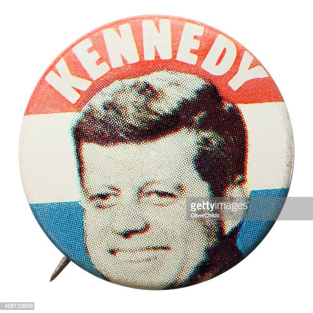 reproduction j. f. kennedy election pin. - john f. kennedy us president stock photos and pictures