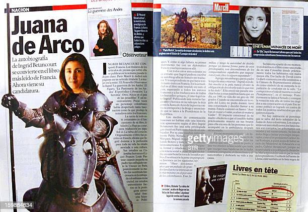 Reproduction made 26 March 2001 in Bogota of an article from the weekly magazine 'La Semana' corresponding to the 19th to 26th March 2001 issue where...