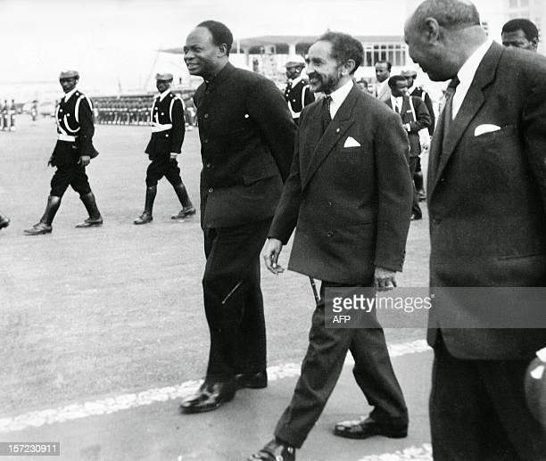Reproduction of a file photo dated 25 May 1963 shows the Ethiopian Emperor Haile Selassie and Ghana's founder and first President Kwame Nkrumah...