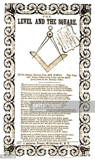 Reproduction of a Freemasonthemed poem by Rob Morris entitled 'The Level the Square' 1854