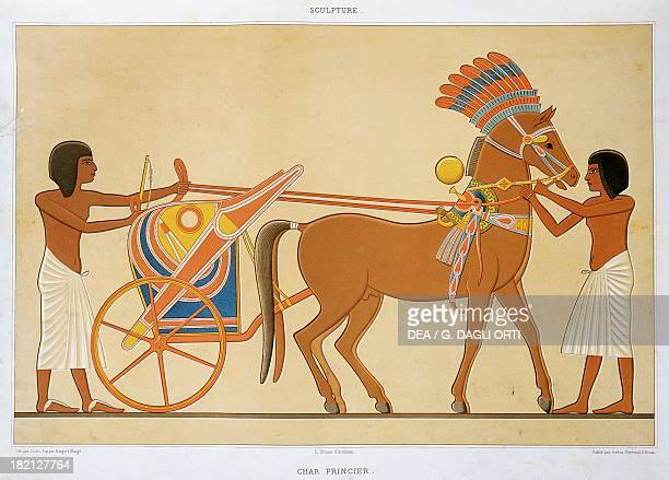 Reproduction of a fresco depicting a princely chariot of the 18th Dynasty from Tell elAmarna engraving from Atlas de l'Histoire de l'Art Egyptien...